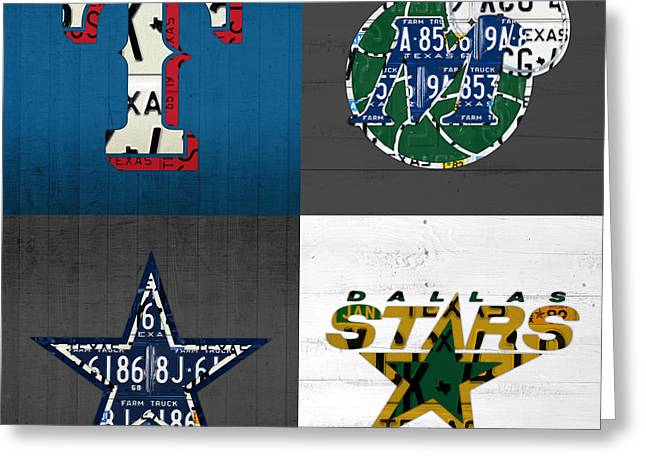 Sports Fan Greeting Cards - Dallas Sports Fan Recycled Vintage Texas License Plate Art Rangers Mavericks Cowboys Stars Greeting Card by Design Turnpike