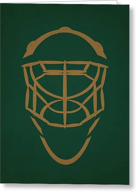 5 Star Greeting Cards - Dallas Stars Goalie Mask Greeting Card by Joe Hamilton