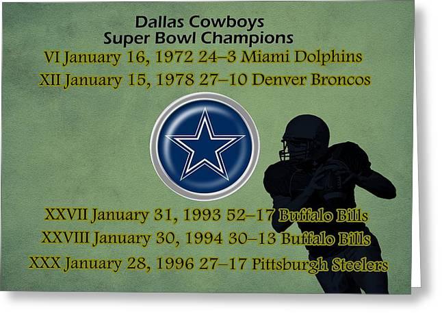 Super Stars Greeting Cards - Dallas Texas Cowboys Super Bowl Wins Greeting Card by Movie Poster Prints