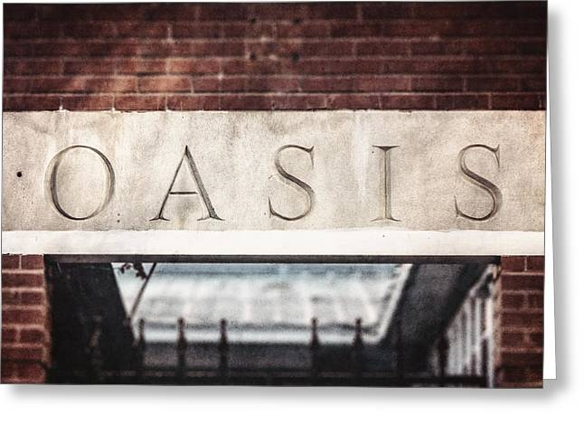 Entryway Greeting Cards - Dallas Texas Oasis Sign Greeting Card by Lisa Russo