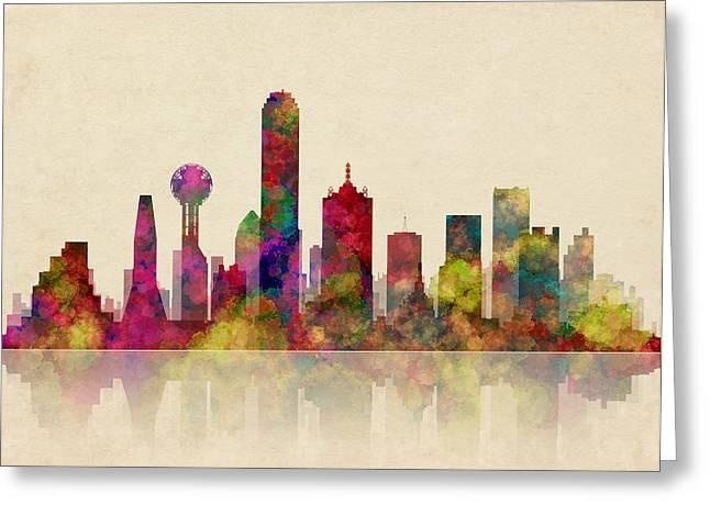 Gas Tower Greeting Cards - Dallas Texas Skyline Greeting Card by Daniel Hagerman