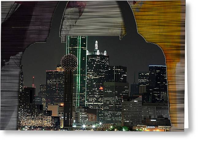 Handbag Greeting Cards - Dallas Texas Skyline in a Purse Greeting Card by Marvin Blaine