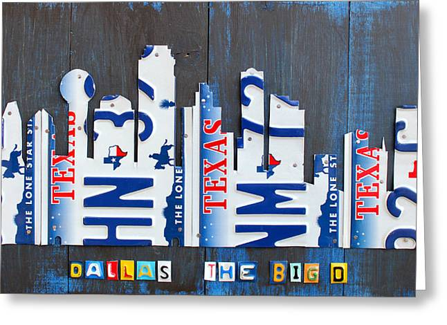 Arlington Mixed Media Greeting Cards - Dallas Texas Skyline License Plate Art by Design Turnpike Greeting Card by Design Turnpike