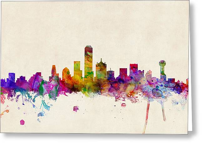Urban Watercolour Greeting Cards - Dallas Texas Skyline Greeting Card by Michael Tompsett