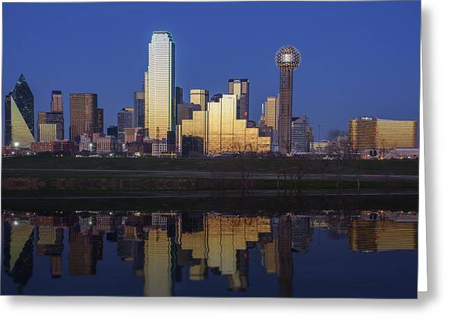 Highway Lights Greeting Cards - Dallas Twilight Greeting Card by Rick Berk