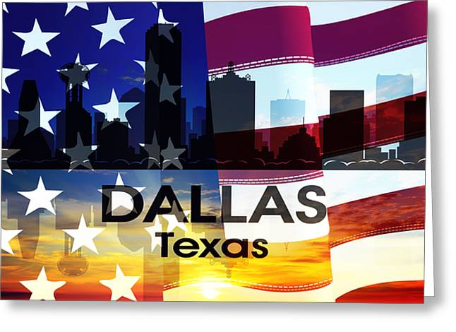 Concrete Jungle Mixed Media Greeting Cards - Dallas TX Patriotic Large Cityscape Greeting Card by Angelina Vick