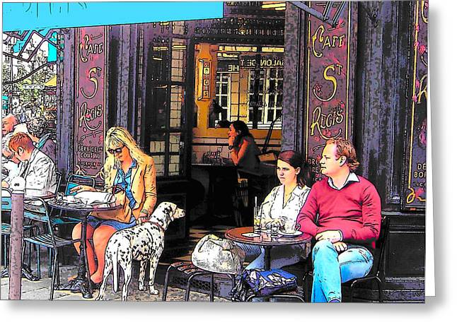Coffee Drinking Digital Art Greeting Cards - Dalmatian at the Paris Cafe Greeting Card by Jan Matson