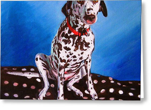 Collar Greeting Cards - Dalmatian on spotty cushion Greeting Card by Helen White