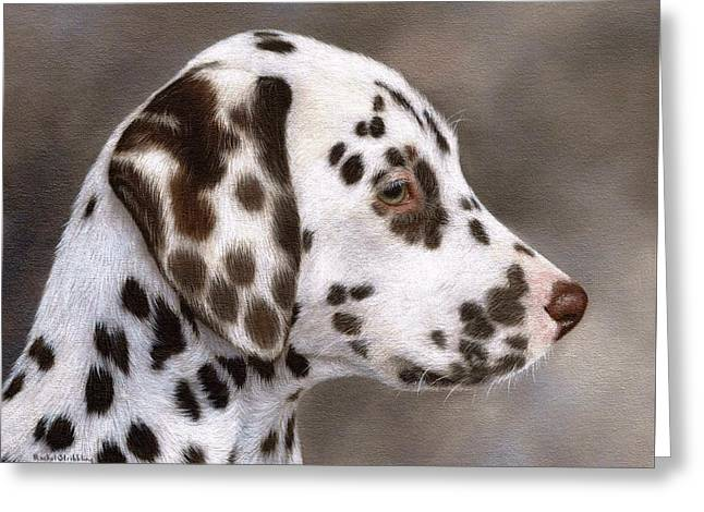 Dog Portraits Greeting Cards - Dalmatian Puppy Painting Greeting Card by Rachel Stribbling
