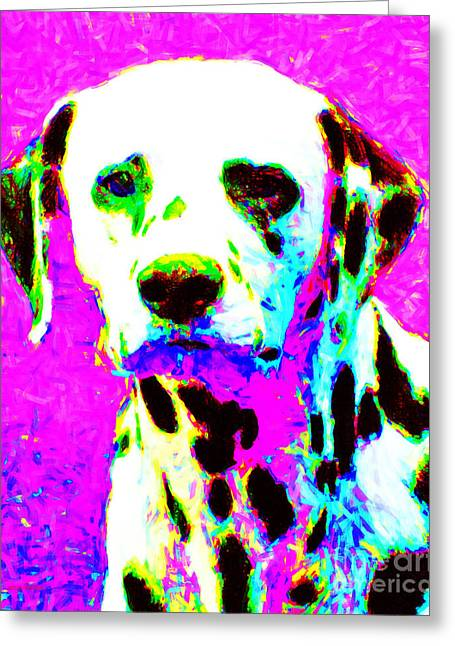 Happy Dogs Cute Dogs Greeting Cards - Dalmation Dog 20130125v1 Greeting Card by Wingsdomain Art and Photography