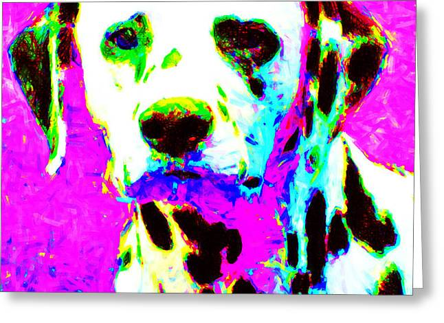Dalmation Dog 20130125v1 Greeting Card by Wingsdomain Art and Photography