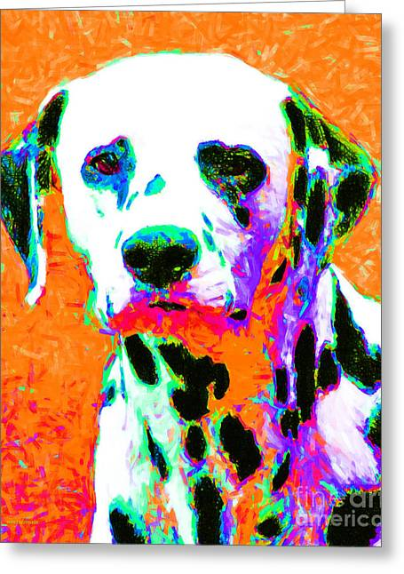 Happy Dogs Cute Dogs Greeting Cards - Dalmation Dog 20130125v2 Greeting Card by Wingsdomain Art and Photography