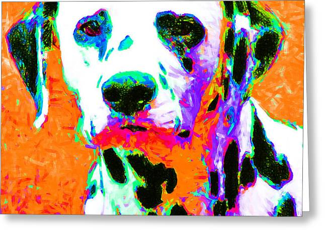Dalmation Dog 20130125v2 Greeting Card by Wingsdomain Art and Photography