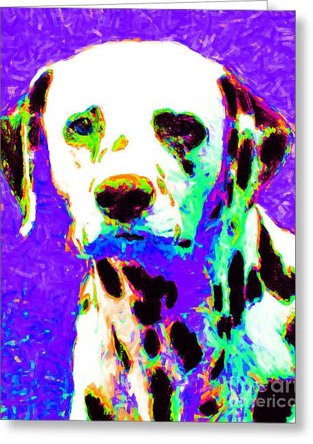 Happy Dogs Cute Dogs Greeting Cards - Dalmation Dog 20130125v4 Greeting Card by Wingsdomain Art and Photography