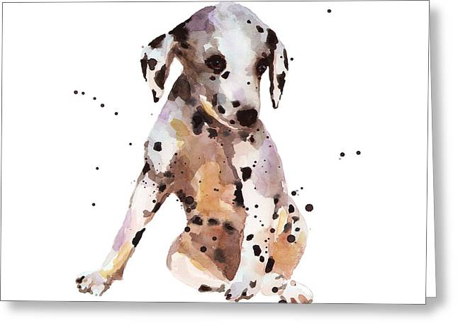 Dog Portraits Greeting Cards - Dalmation Dude Greeting Card by Alison Fennell