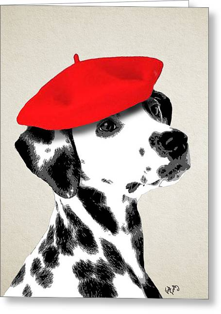 Canine Framed Prints Greeting Cards - Dalmation with Red Beret Greeting Card by Kelly McLaughlan