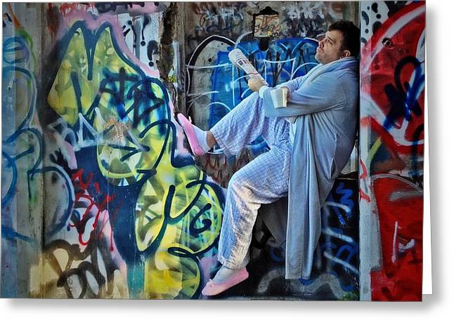 Pajamas Greeting Cards - Dalyn at the Graffiti Underground Greeting Card by Victoria Porter
