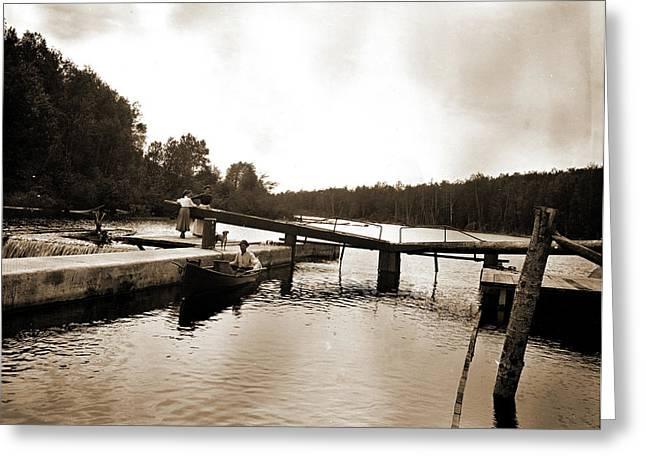 Dam And Lock, Saranac River, Adirondack Mtns Greeting Card by Litz Collection
