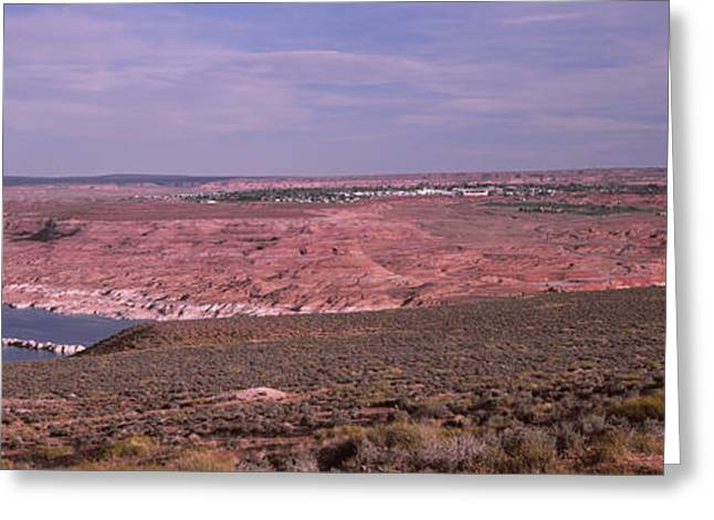 Geographical Locations Greeting Cards - Dam On A Lake, Glen Canyon Dam, Lake Greeting Card by Panoramic Images
