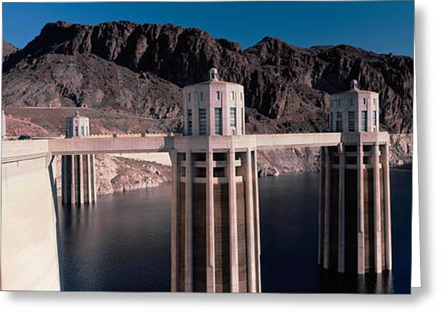 Hoover Greeting Cards - Dam On The River, Hoover Dam, Colorado Greeting Card by Panoramic Images