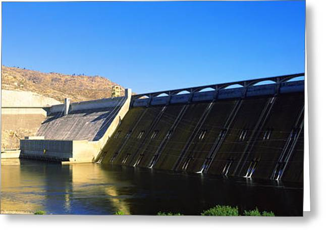 Hydroelectric Greeting Cards - Dam Over A River, Grand Coulee Dam Greeting Card by Panoramic Images