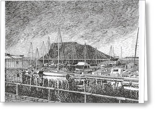 Pen And Ink Framed Prints Greeting Cards - Dam Site Marina Elephant Butte Greeting Card by Jack Pumphrey