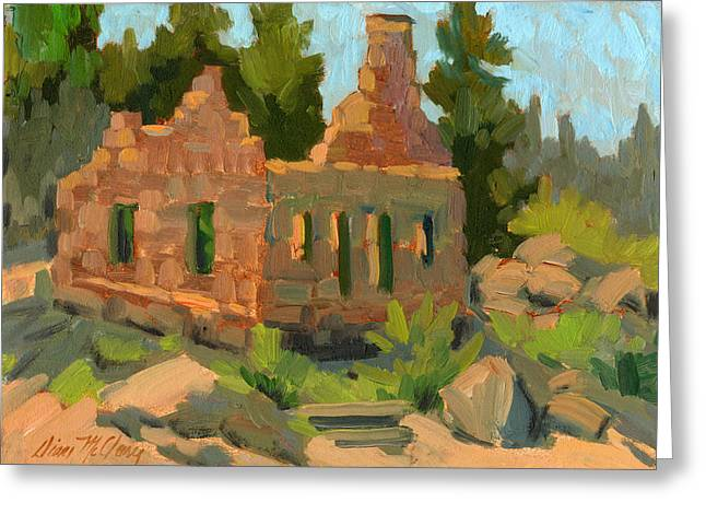 Old Stone Greeting Cards - Dam Watchers Old Home Greeting Card by Diane McClary