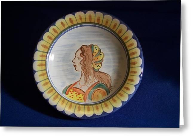 Maiolica Ceramics Greeting Cards - Dama Arancio Su Piatto Greeting Card by Daniela Johnson