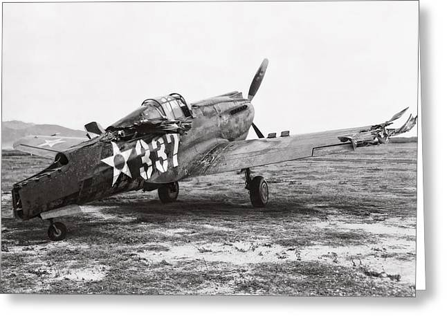 Hickam Greeting Cards - Damaged Curtiss P-40 - Pearl Harbor Hawaii - 1941 Greeting Card by Daniel Hagerman