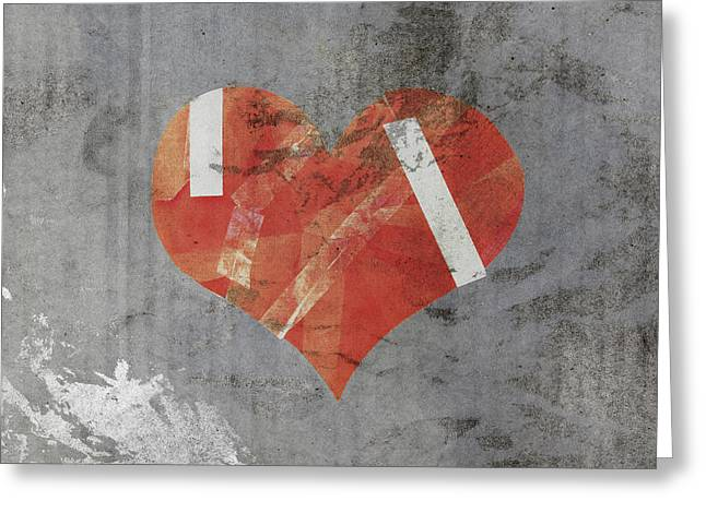 Repaired Mixed Media Greeting Cards - Damaged Heart On Old Paper Greeting Card by Ratchapon Yanyongdecha