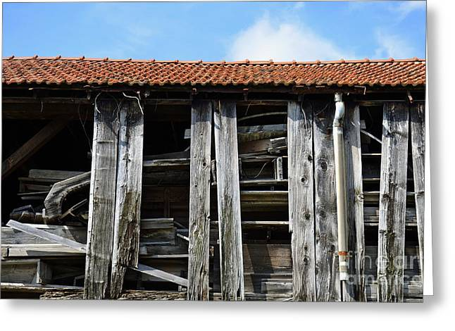 Damaged Old Wooden Building Greeting Card by Sami Sarkis