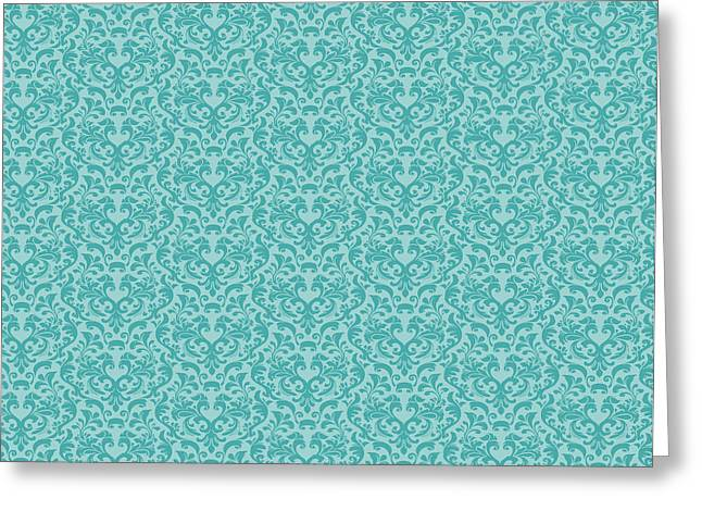 Paisley Blue Fabric Greeting Cards - Damask Coral and Shells Greeting Card by Kimberly McSparran