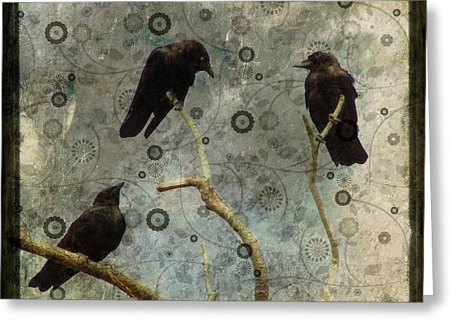 Crow Collage Greeting Cards - Damask Of Crow Greeting Card by Gothicolors Donna Snyder