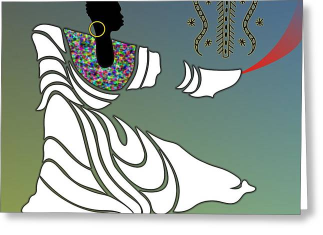 Gold Earrings Greeting Cards - Damballah Loa Greeting Card by Walter Oliver Neal