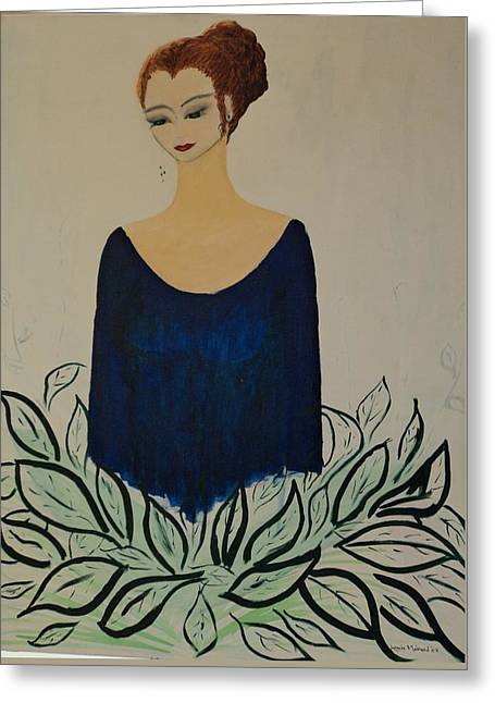 Evening Dress Mixed Media Greeting Cards - Dame Bleue Greeting Card by Lucie  Menard