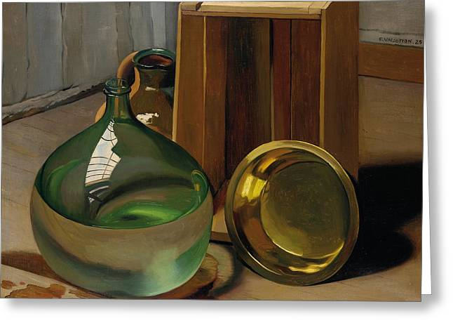 Ewer Paintings Greeting Cards - Dame-jeanne and caisse Greeting Card by Felix Edouard Vallotton