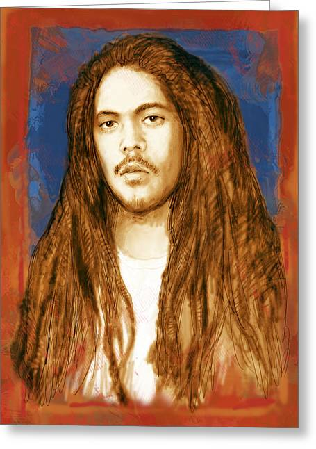 Award Mixed Media Greeting Cards - Damian Marley - stylised drawing art poster Greeting Card by Kim Wang