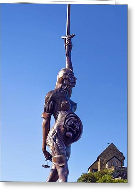 Stainless Steel Greeting Cards - Damien Hursts Verity Statue Greeting Card by Dr Keith Wheeler