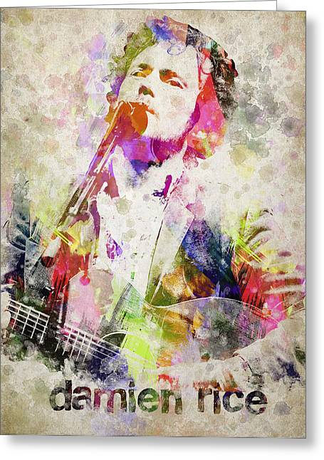 Famous Artist Greeting Cards - Damien Rice Portrait Greeting Card by Aged Pixel
