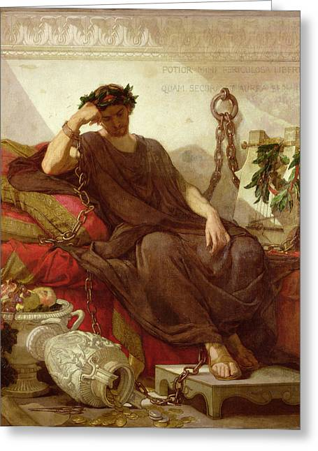 Prisoner Paintings Greeting Cards - Damocles Greeting Card by Thomas Couture
