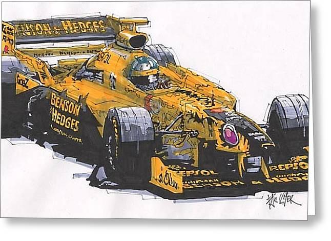 Jordan Drawings Greeting Cards - Damon Hill Jordan Grand Prix of Canada Greeting Card by Paul Guyer