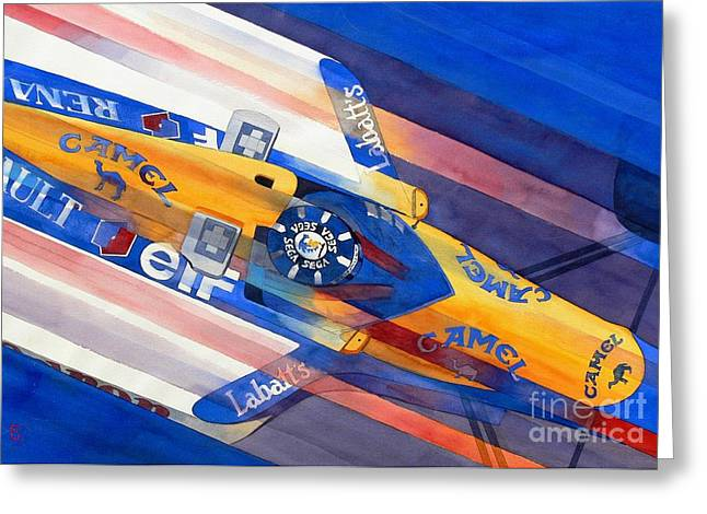 Watercolor Sports Art Paintings Greeting Cards - Damon Hill Greeting Card by Robert Hooper