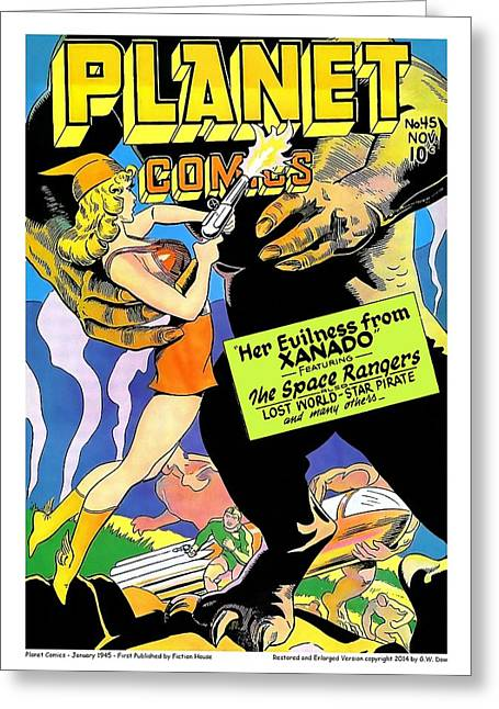 Comic Book Covers Greeting Cards - Damsel Fights Back Greeting Card by Gary Dow