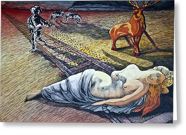 Surrealism Mixed Media Greeting Cards - Damsel In Distress Greeting Card by Larry Butterworth