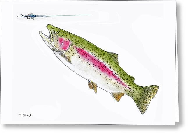 Trout Fishing Pastels Greeting Cards - Damsel in Distress Greeting Card by Tim Shoales