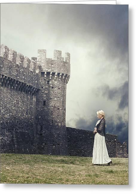 White Dress Greeting Cards - Damsel Greeting Card by Joana Kruse