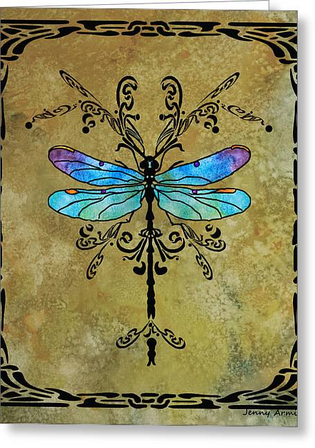 Dragonflies Greeting Cards - Damselfly Nouveau Greeting Card by Jenny Armitage