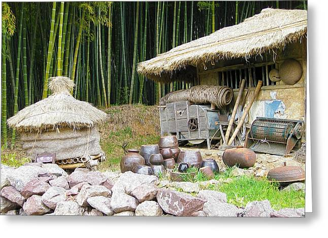 Bamboo House Greeting Cards - Damyang bamboo forests Greeting Card by Lanjee Chee