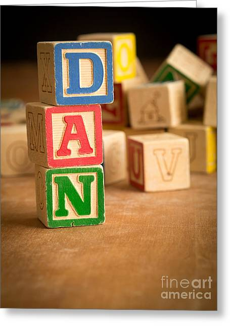 Spelling Greeting Cards - DAN - Alphabet Blocks Greeting Card by Edward Fielding