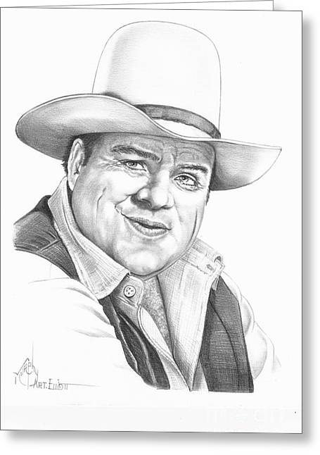 Western Pencil Drawings Greeting Cards - Dan Blocker Greeting Card by Murphy Elliott